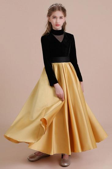 BMbridal A-Line High-neck Velvet Satin Flower Girl Dress Online_5