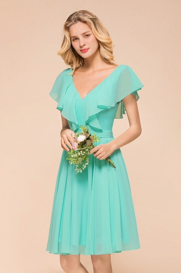 Chic V-Neck Ruffle Chiffon Short Affordable Bridesmaid Dresses Online_7