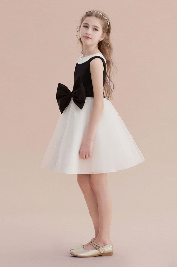 BMbridal A-Line Affordable Bow Tulle Flower Girl Dress On Sale_5
