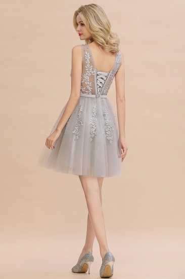 Elegant V-Neck Sleeveless Short Prom Dress Mini Homecoming Dress With Lace Appliques_7