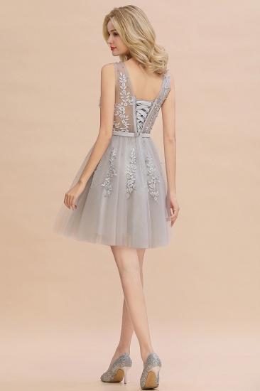 BMbridal ElegantSleeveless Silver Bridesmaid Dress V-neck  Junior Bridesmaid Dress_2