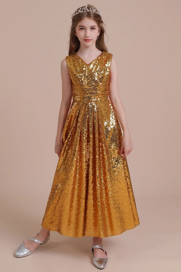 BMbridal A-Line Amazing Sequins V-neck Flower Girl Dress Online_4
