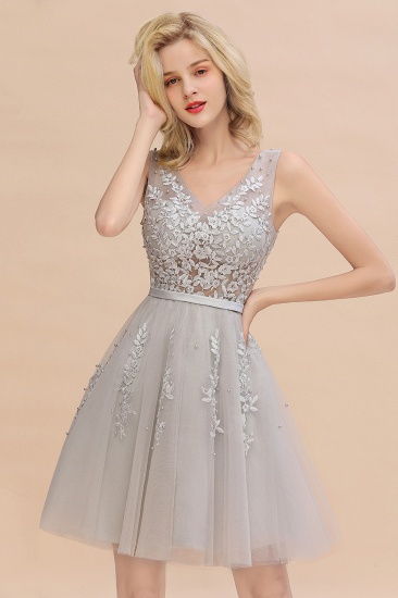 BMbridal Elegant V-Neck Sleeveless Short Prom Dress Mini Homecoming Dress With Lace Appliques_6