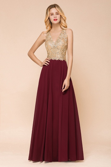 BMbridal Gorgeous V-Neck Burgundy Prom Dress Long Sleeveless Evening Gowns With Appliques_7