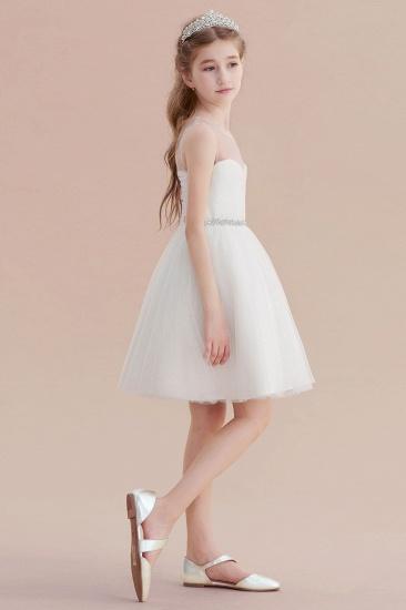 BMbridal A-Line Illusion Knee Length Tulle Flower Girl Dress Online_7