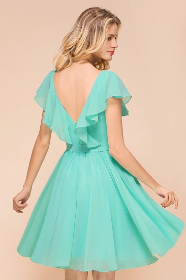 Chic V-Neck Ruffle Chiffon Short Affordable Bridesmaid Dresses Online_8