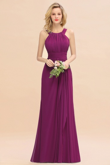 BMbridal Elegant Round Neck Sleeveless Stormy Bridesmaid Dress with Ruffles_42