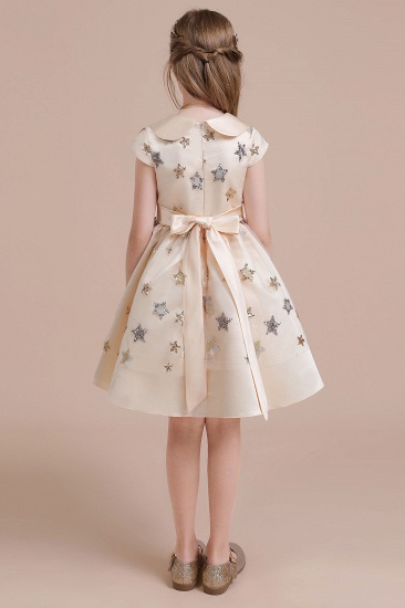 BMbridal A-Line Cap Sleeve Star Sequins Tulle Flower Girl Dress Online_3