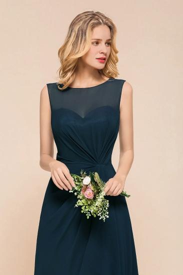 BMbridal Beautiful Chiffon Jewel Ruffle Navy Affordable Bridesmaid Dresses Online_8