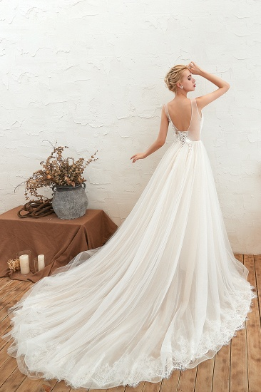 Affordable Tulle V-Neck Ruffle Long Wedding Dress with Appliques_6