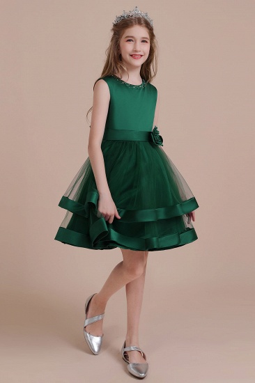 BMbridal A-Line Bow Satin Layered Tulle Flower Girl Dress Online_5