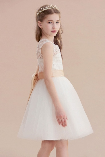 BMbridal A-Line Lace Tulle Knee Length Dress Flower Girl Dress Online_8