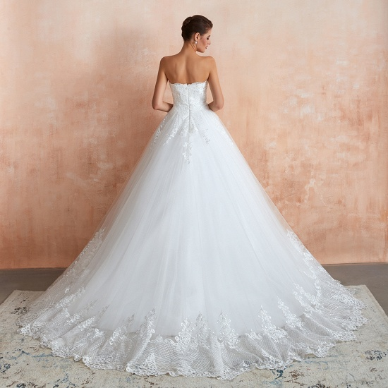Stylish Strapless White Lace Cheap Wedding Dress Online with Low Back_5