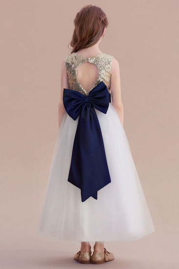 BMbridal A-Line Bow Sequins Ankle Length Flower Girl Dress Online_3