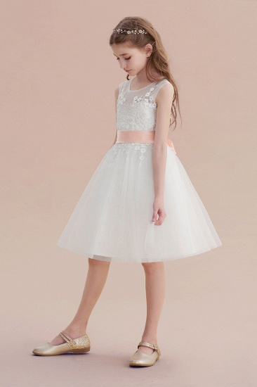 BMbridal A-Line Illusion Appliques Tulle Flower Girl Dress Online_6