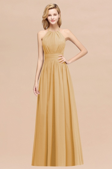 Elegant High-Neck Halter Long Affordable Bridesmaid Dresses with Ruffles_13