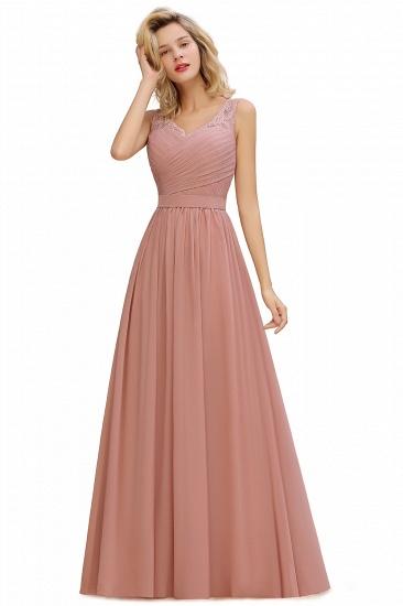BMbridal A-line Chiffon Lace V-Neck Ruffles Bridesmaid Dress_2