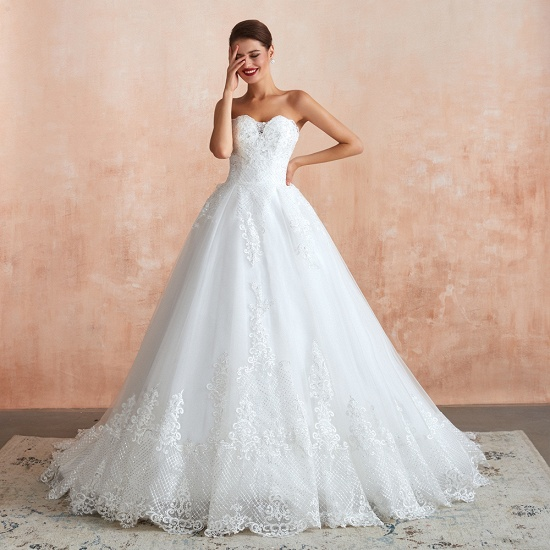 Stylish Strapless White Lace Cheap Wedding Dress Online with Low Back_1