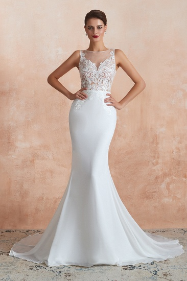 BMbridal Beautiful Mermaid V-Neck White Lace Wedding Dresses Affordable Online_1