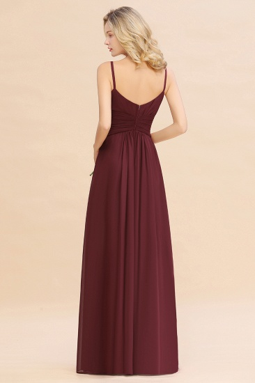 Modest Ruffle Spaghetti Straps Backless Burgundy Bridesmaid Dresses Cheap_52