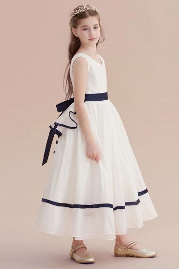 BMbridal A-Line Chic V-neck Lace Ankle Length Flower Girl Dress Online_6