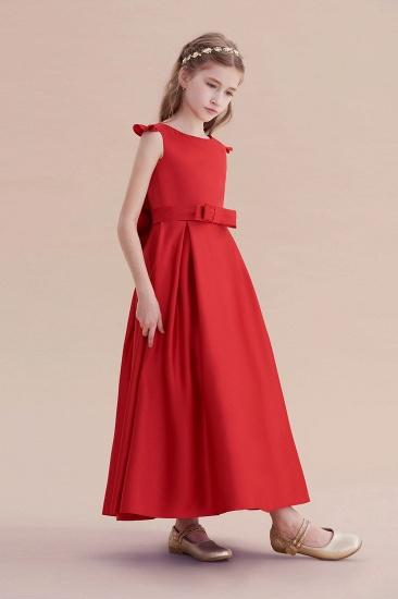 BMbridal A-Line Satin Bow Ankle Length Flower Girl Dress On Sale_5