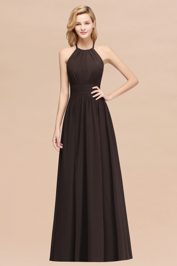 Elegant High-Neck Halter Long Affordable Bridesmaid Dresses with Ruffles_11