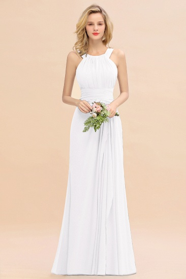Elegant Round Neck Sleeveless Stormy Bridesmaid Dress with Ruffles_1
