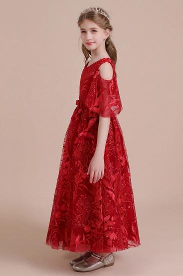 BMbridal A-Line V-neck Tulle Cold-shoulder Flower Girl Dress On Sale_5