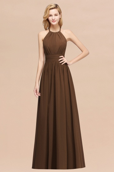Elegant High-Neck Halter Long Affordable Bridesmaid Dresses with Ruffles_12