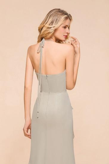 Affordable Halter V-Neck Ruffle Silver Chiffon Bridesmaid Dress Online_9