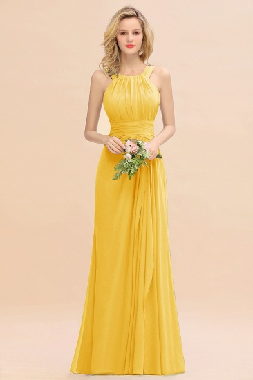 Elegant Round Neck Sleeveless Stormy Bridesmaid Dress with Ruffles_17