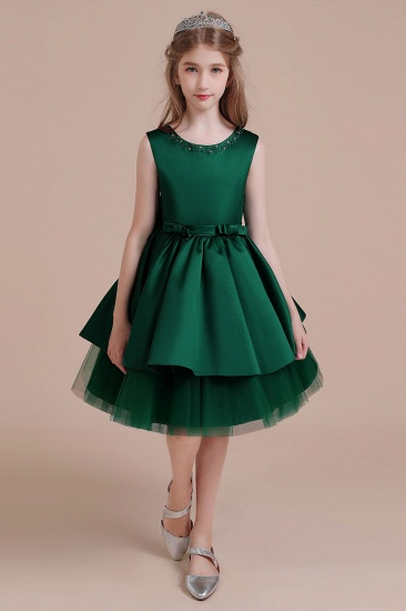 BMbridal A-Line Bow Beading Satin Tulle Flower Girl Dress On Sale