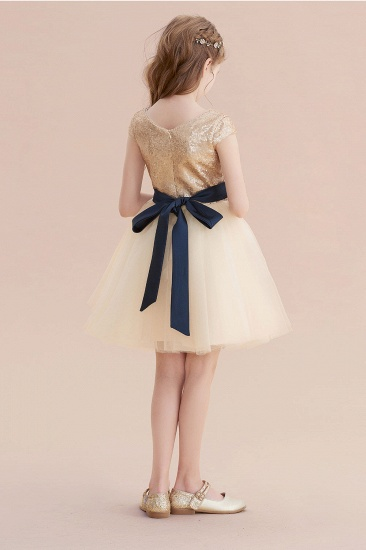 BMbridal A-Line Sequins Tulle Cap Sleeve Flower Girl Dress Online_3