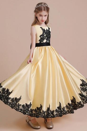 BMbridal A-Line Chic Bow Appliques Satin Flower Girl Dress Online_6