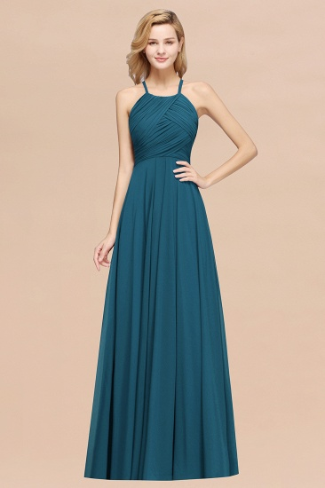 Halter Crisscross Pleated Bridesmaid Dress Blue Chiffon Sleeveless Maid of Honor Dress_27