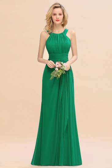 Elegant Round Neck Sleeveless Stormy Bridesmaid Dress with Ruffles_49