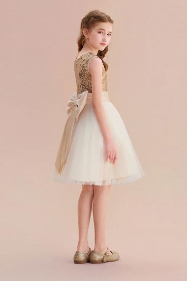 BMbridal A-Line Sequins Tulle Bow Flower Girl Dress On Sale_7