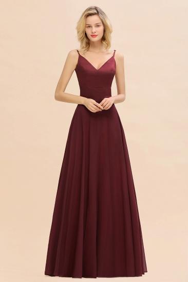 BMbridal Simple Satin Chiffon Spaghetti-Straps Burgundy Long Bridesmaid Dress_5