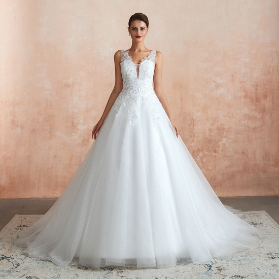 Fantastic Tulle Appliques Sleeveless White Wedding Dresses Online_1