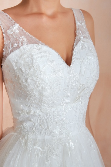 BMbridal Affordable V-Neck Tulle Lace Long White Wedding Dresses Online_12