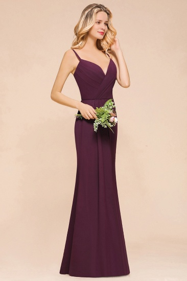 Fantastic Spaghetti Straps V-Neck Grape Bridesmaid Dress with Ruffle_5