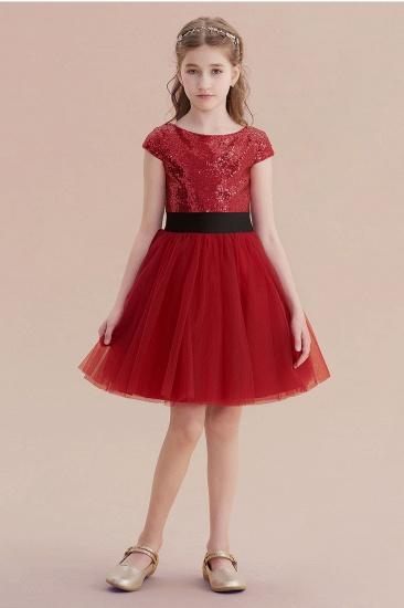 BMbridal A-Line Cap Sleeve Sequins Tulle Flower Girl Dress On Sale_1