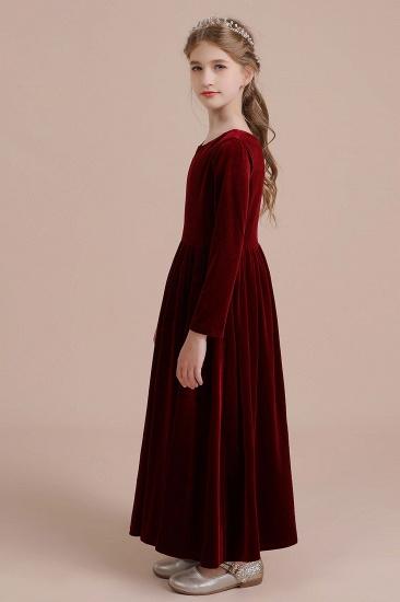 BMbridal A-Line Long Sleeve Velvet Flower Girl Dress On Sale_4
