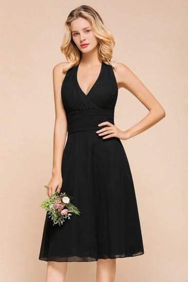 BMbridal Affordable Halter V-Neck Black Short Bridesmaid Dresses Online_7
