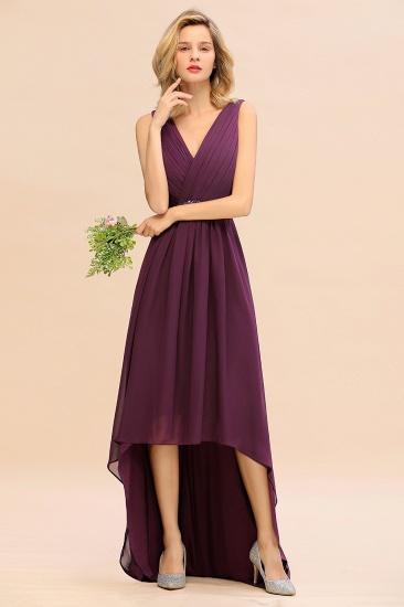Chic Hi-Lo V Neck Ruffle Bridesmaid Dress with Beading Sash_8