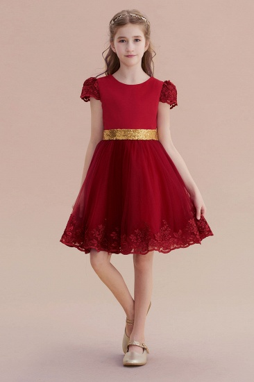 BMbridal A-Line Cap Sleeve Bow Knee Length Flower Girl Dress Online_1