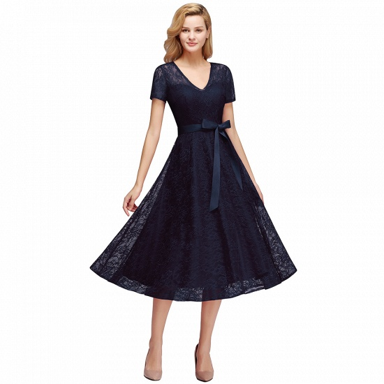 BMbridal V-neck Short Sleeves Lace Dress with Bow Sash_4