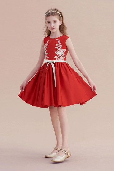 BMbridal A-Line Affordable Appliques Satin Flower Girl Dress Online_5
