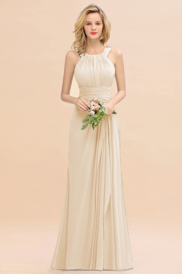 Elegant Round Neck Sleeveless Stormy Bridesmaid Dress with Ruffles_14